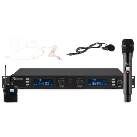 Power Dynamics PD632C 2x 20-kanalų UHF bevielių mikrofonų sistema
