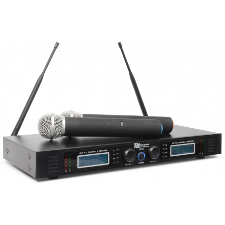 Power Dynamics PD732H 2x 16-kanalų UHF bevielių mikrofonų sistema su 2 rankiniais mikrofonais