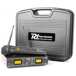 Power Dynamics PD782 2x 8-kanalų UHF bevielių mikrofonų sistema su 2 rankiniais mikrofonais