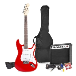 MAX GigKit elektrinės gitaros rinkinys raudona