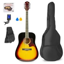 MAX SoloJam akustinė gitara sunburst - rinkinys