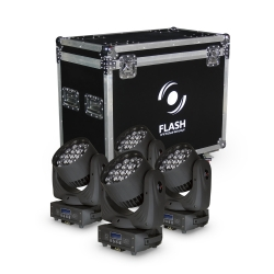 4x LED Moving Head WASH 19x15W RGBW 4in1 ZOOM + CASE