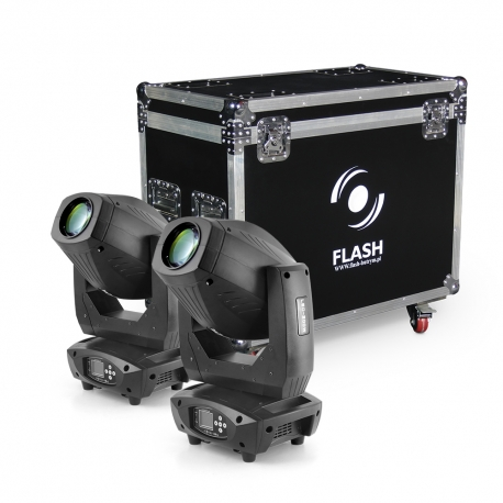 LED Moving Head 200W 3in1 - BEAM-SPOT-WASH - 2pcs + CASE