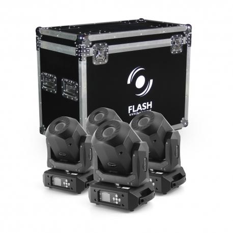 4x LED Moving Head 90W DIAMOND - ROTO PRISM 2x GOBO (SET)
