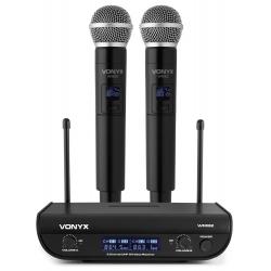 VONYX WM82 UHF 2-kanalų bevielių mikrofonų komplektas su 2 rankiniai mikrofonais