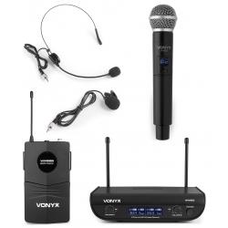 VONYX WM82C UHF 2-kanalų bevielių mikrofonų komplektas su rankiniu mikrofonu ir siųstuvu