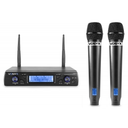 VONYX WM62 bevielių mikrofonų komplektas UHF 16-kanalų su 2 rankiniais mikrofonais