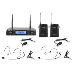 VONYX WM62B Wireless Microphone UHF 16Ch with 2 Bodypacks