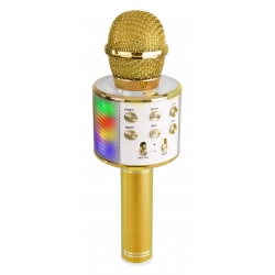 KM15G Karaoke Mic with speaker and LED light BT/MP3 LED Gold