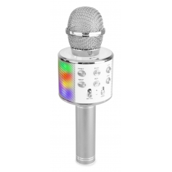 KM15S Karaoke Mic with speaker and LED light BT/MP3 LED Silver